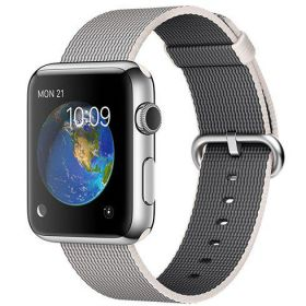 Smart Watch Apple Watch 42mm, Carcasa Stainless Steel, curea Pearl Woven Nylon